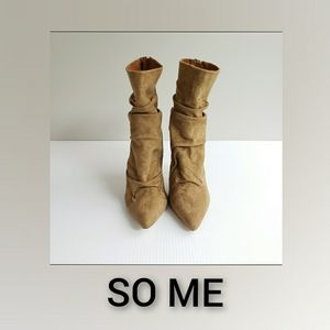 So Me Heel Boots Tan Size 8 Back Zipper